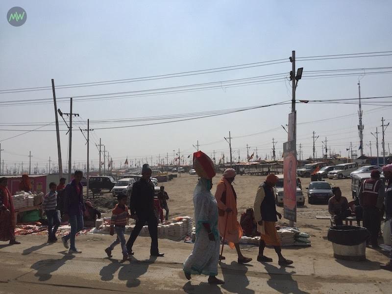 People walking in the Kumbh Mela