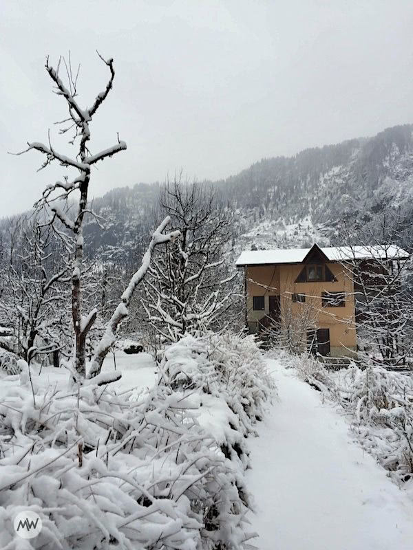 A house, looking extremely beautiful due to snowfall in Manali