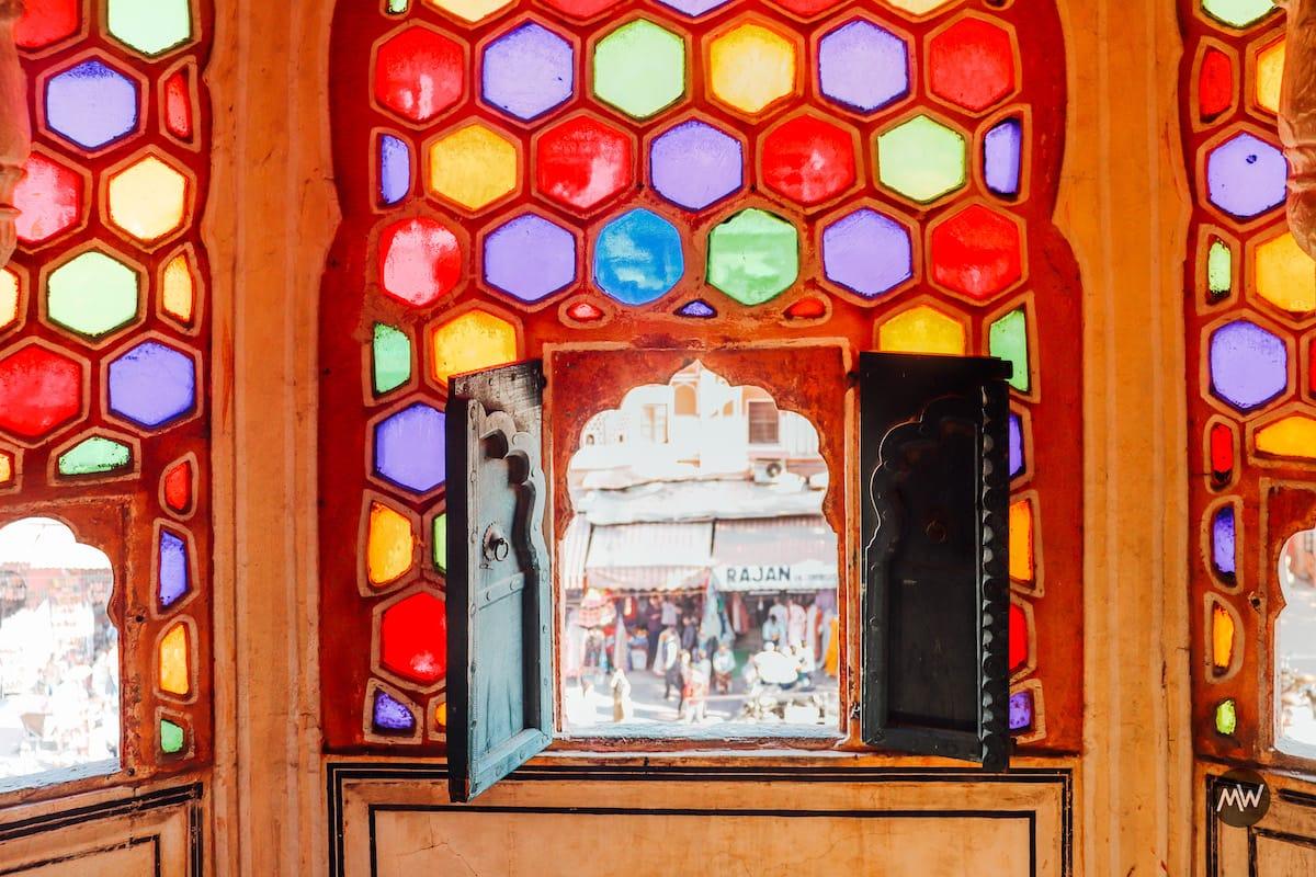 Colorful windows at Hawa Mahal Jaipur