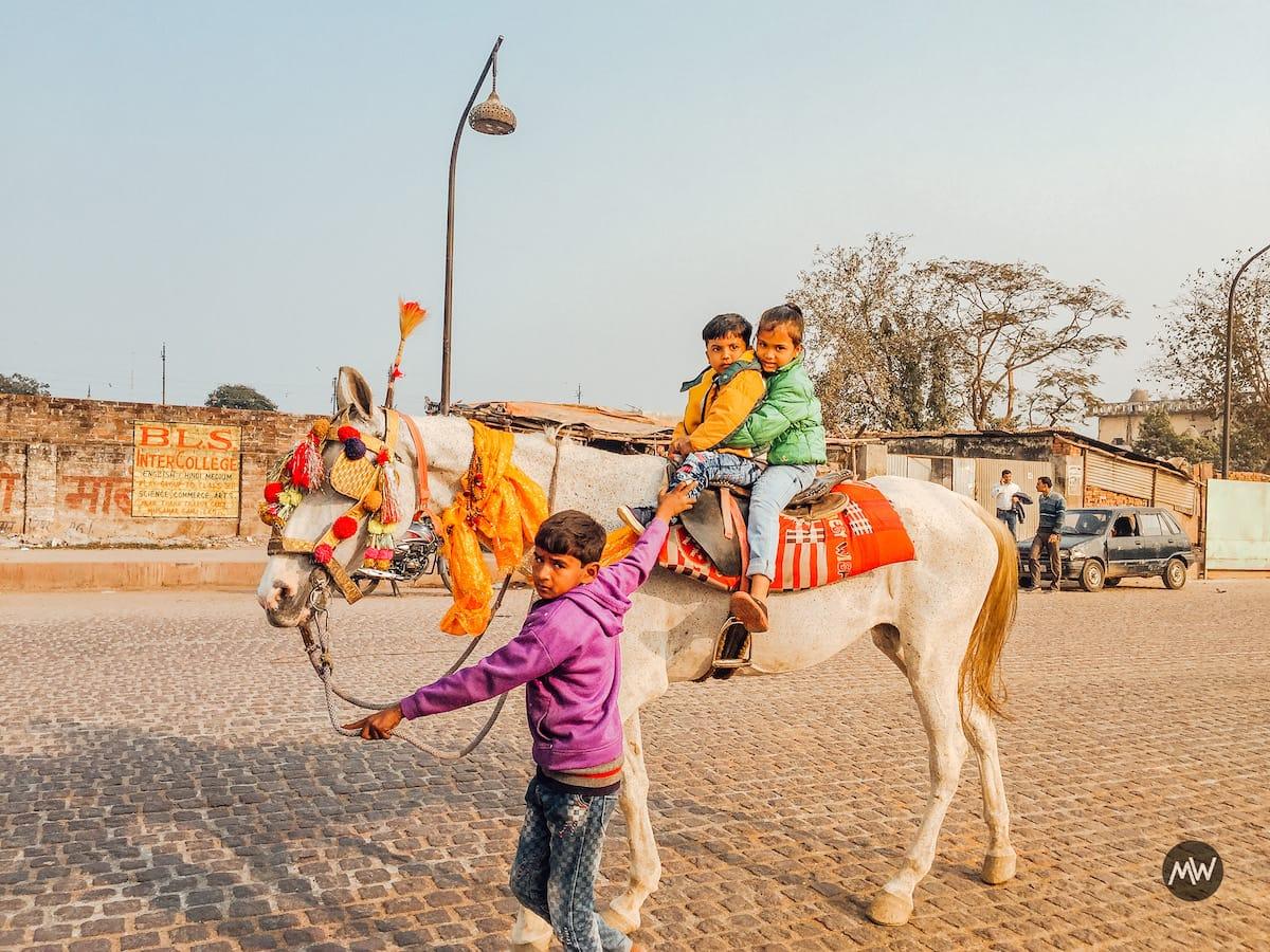Hussainabad Clock Tower - Tallest Clock Tower of India - Children Enjoying Horse Ride
