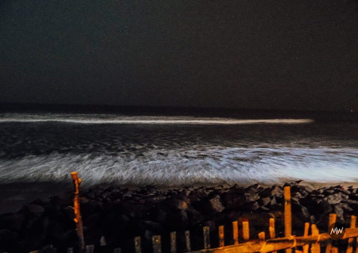 Waves hitting my hotel boundary at Mandarmani Beach