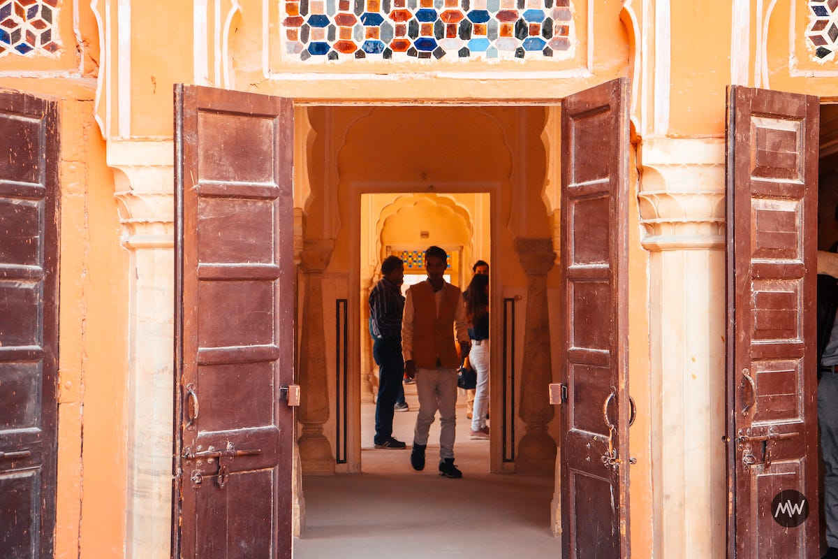 12 entering into colorful room Hawa Mahal Breeze Place  Wind Palace virtual tour