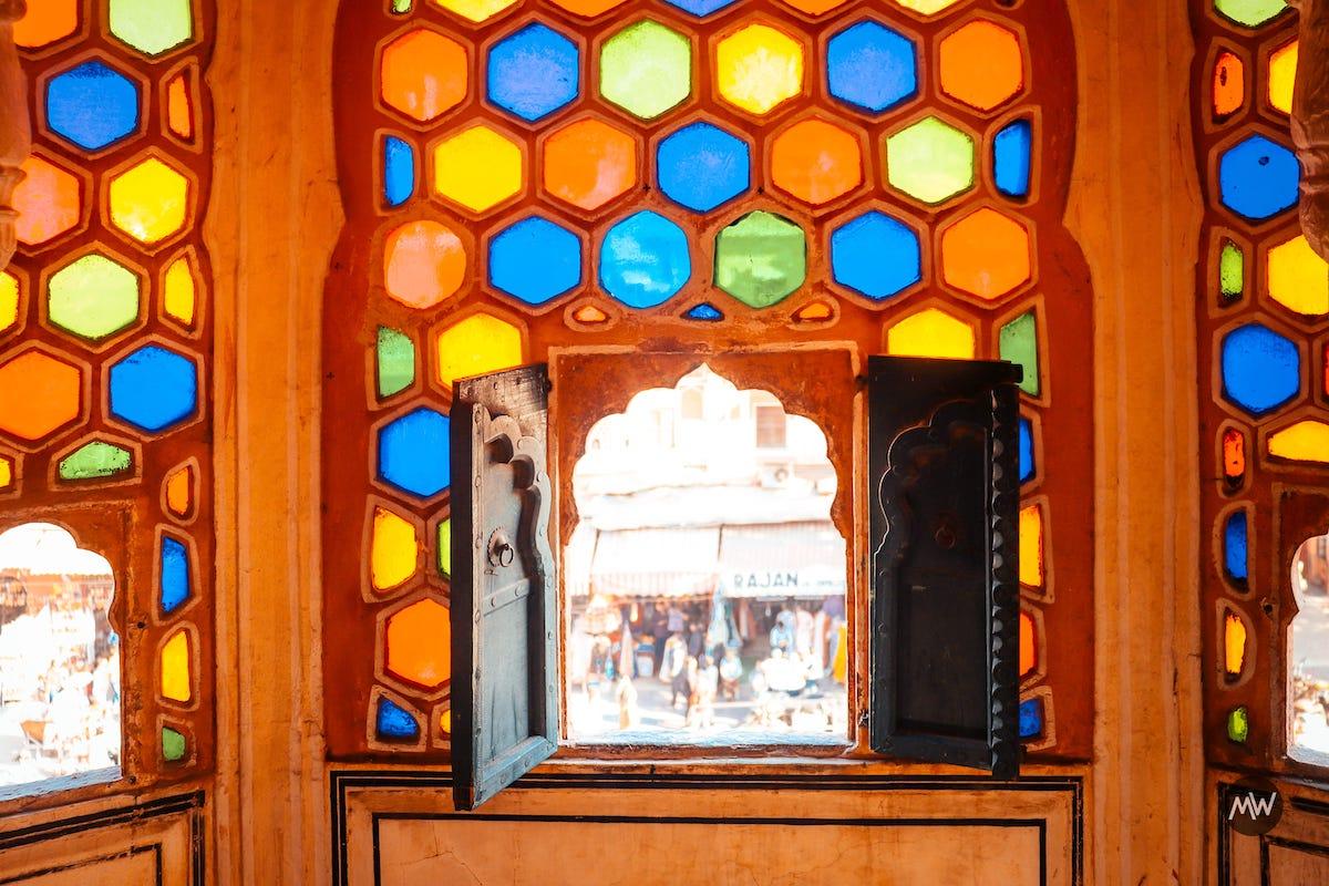 13 observe the colorful windows Hawa Mahal Breeze Place  Wind Palace virtual tour
