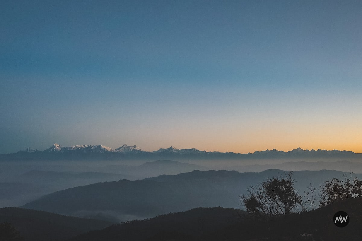 The sunrise from the snow view point near PWD Guest House - Mukteshwar Dham