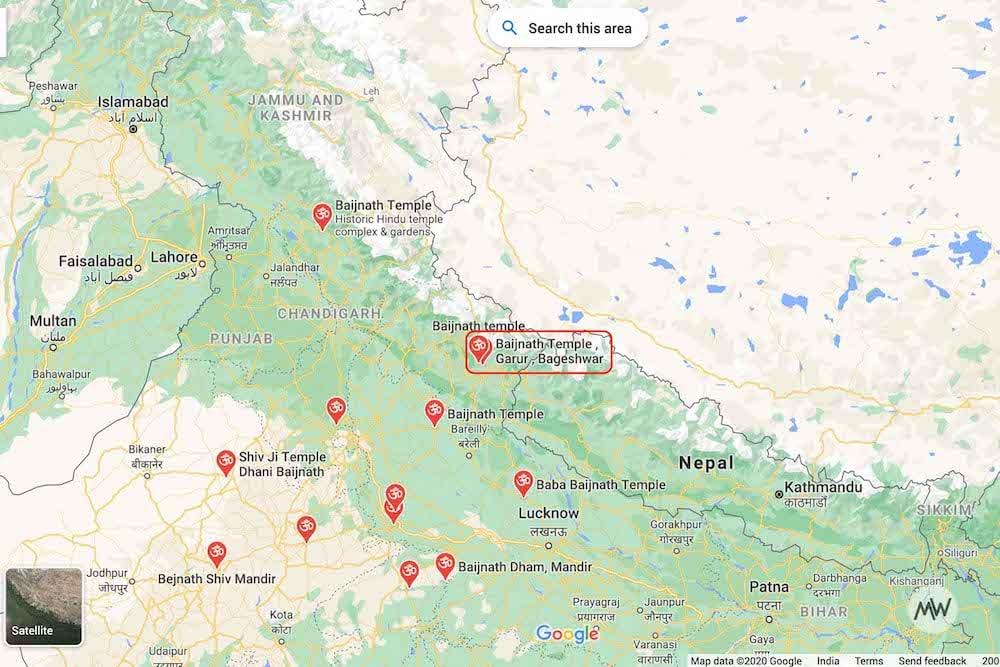 Baijnath Temple Uttarakhand on Google Maps