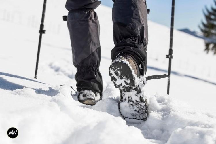Snow trekking with poles