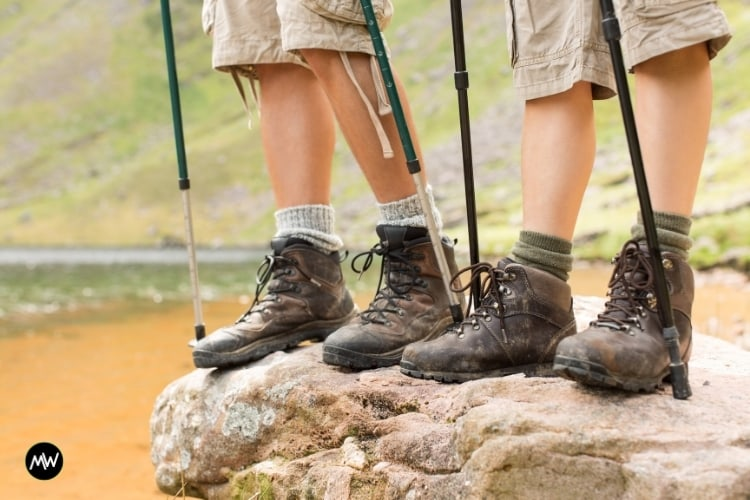 Two people with two pairs of trekking poles