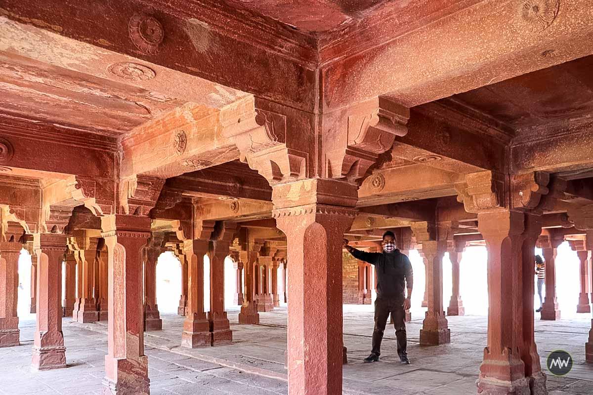 Beautiful columns of Panchmahal at Fatehpur Sikri