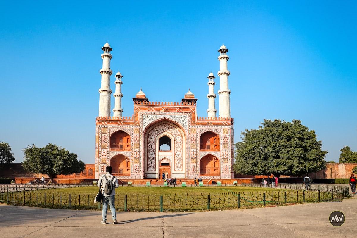 Abhishek admiring The grand entry to gate to Akbar's mausoleum at Sikandra
