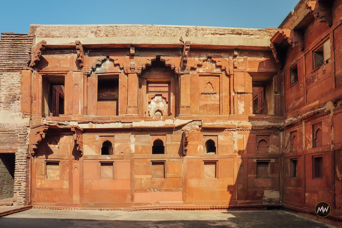 A demolished building of Akbari Palace at Agra Fort