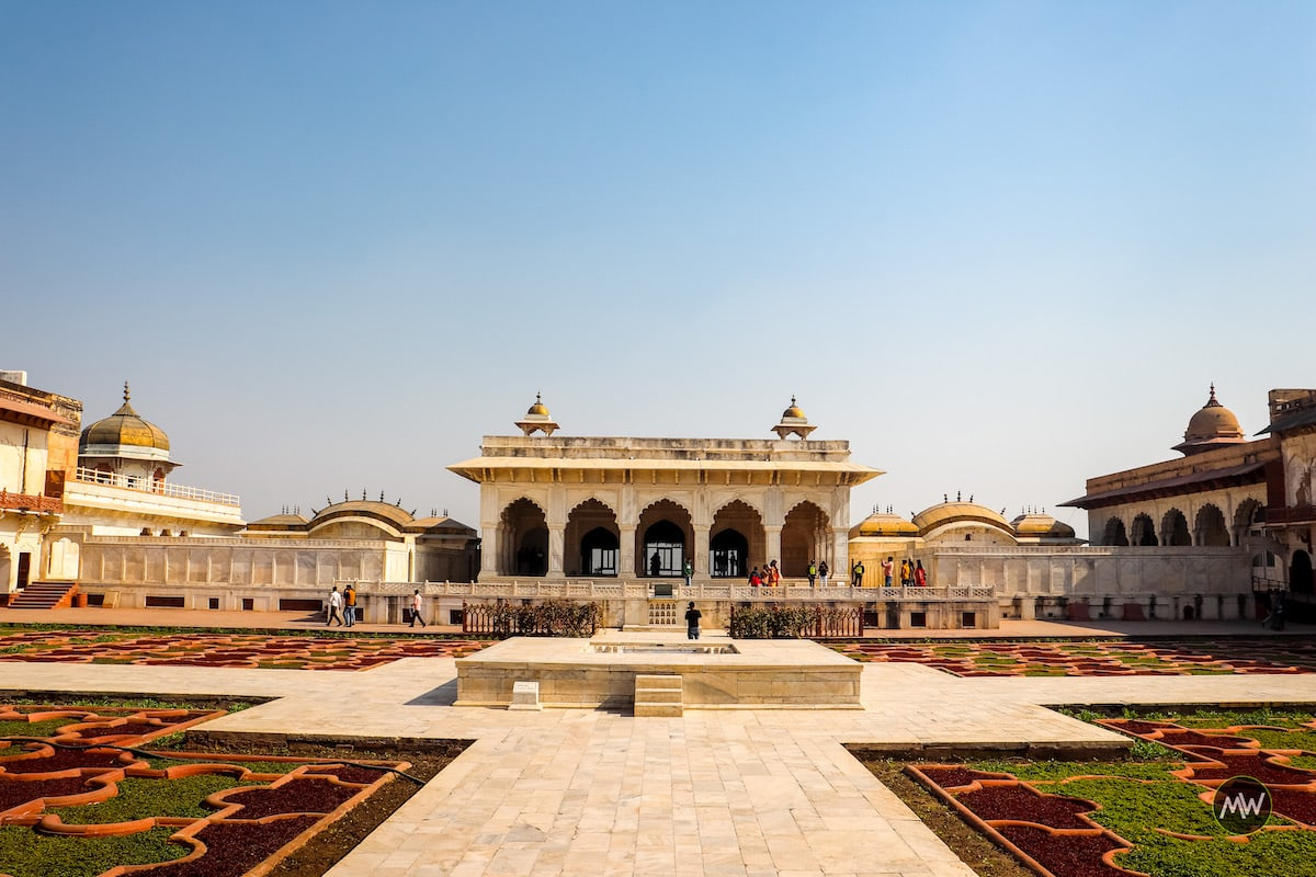 Khas Mahal with two palanquin-like building on both sides and Angoori Bagh in Front - Agra Fort