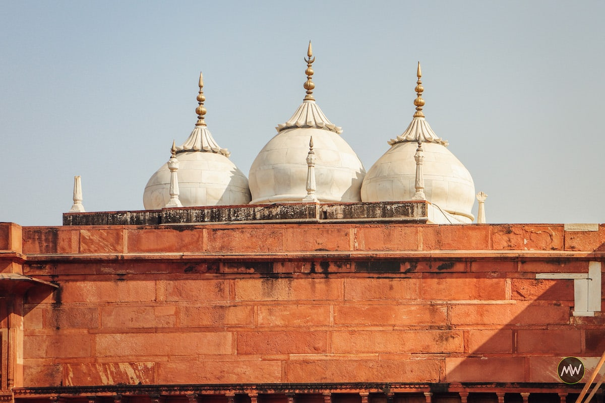 The domes of Nagina Mosque as seen from the open ground of Diwan-e-Aam